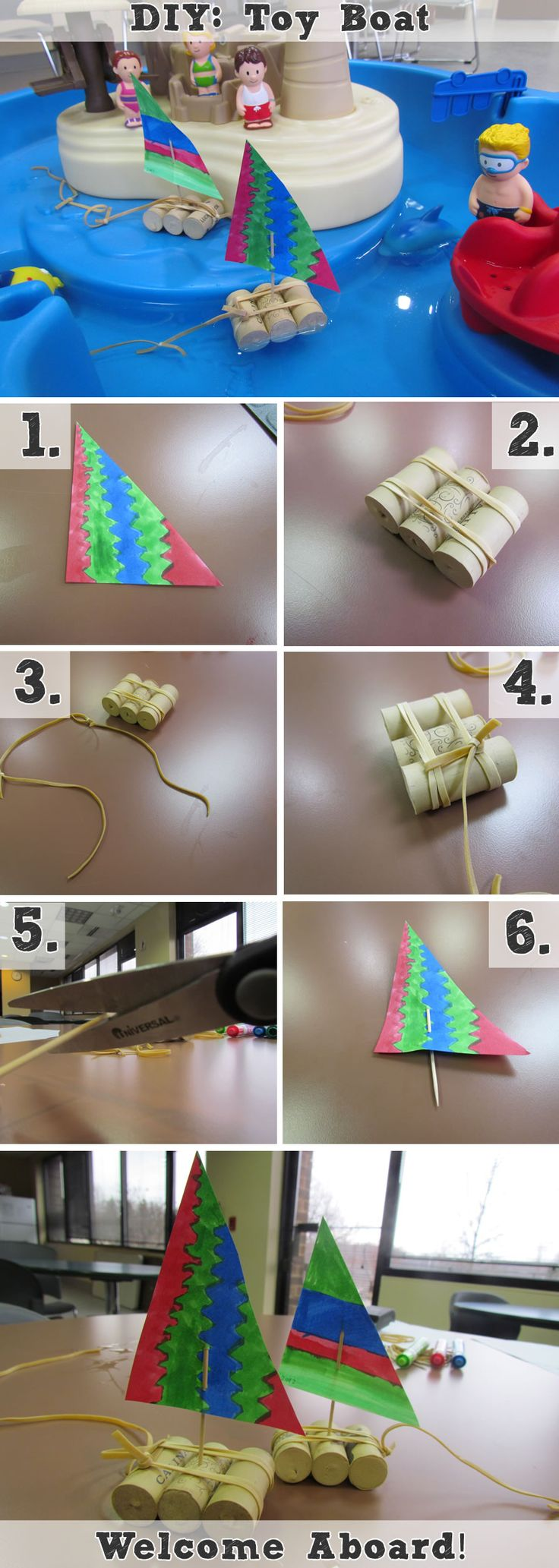See how easy it is to make a DIY floating boat toy. Get creative with a colorful sail.