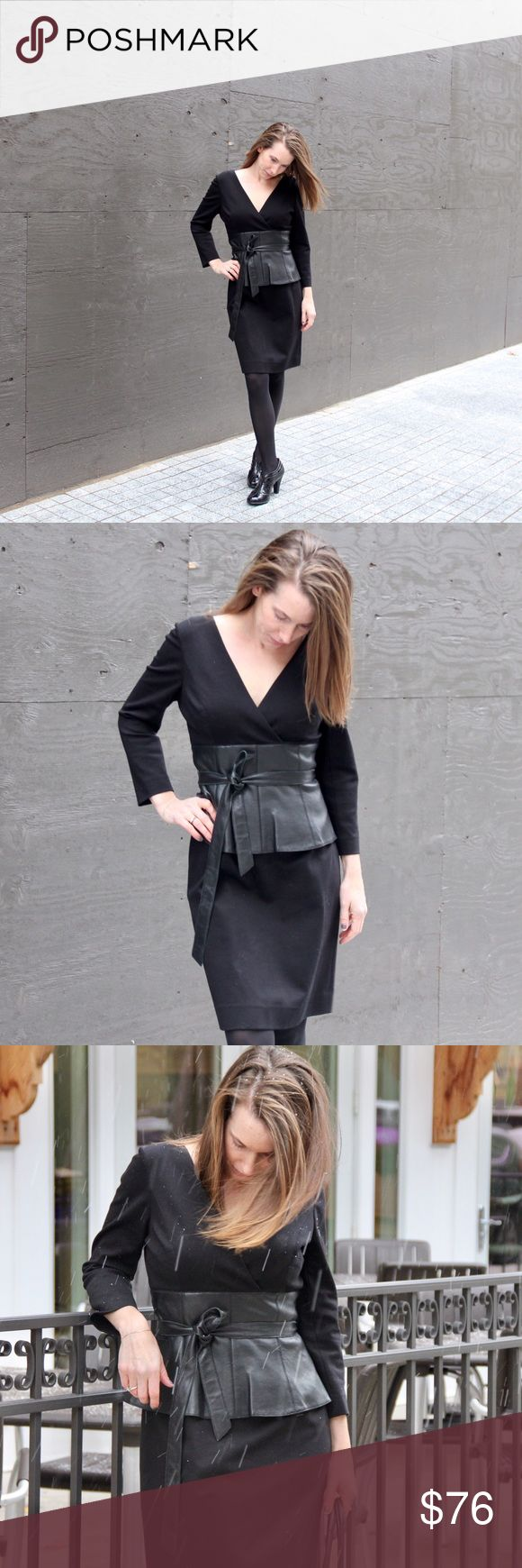 Teri Jon dress Teri Jon dress with 3/4 sleeves. The leather trim around the waist makes this dress really special and luxurious. It's the prefect winter dress. This is a size 10, model is size 4 with the dress cinched at the waist to show appropriate fit. Teri Jon Dresses