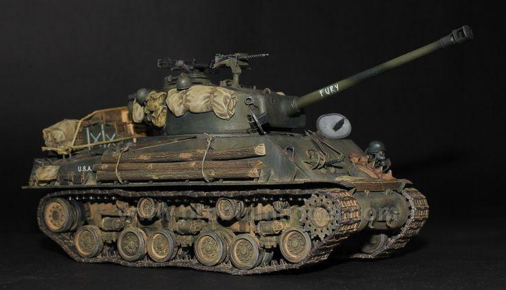(Order) Fury Tank M4A3E8 Easy Eight Sherman 1/35 Pro Built Model