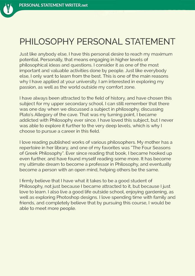 This Philosophy Personal Statement Sample Will Show You