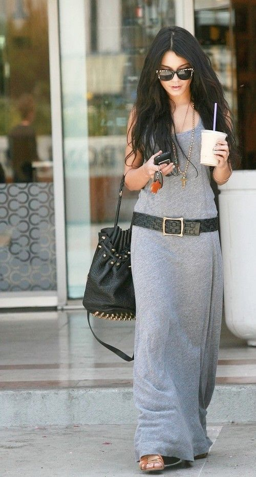 """Kind of """"rich movie star"""" =/...but still an adorable tank maxi dress. Nice touch with the fat belt."""