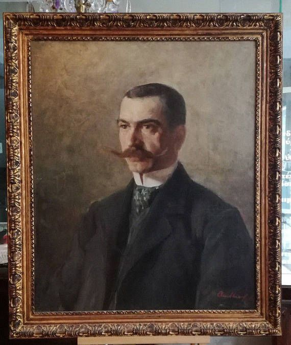 Check out this item in my Etsy shop https://www.etsy.com/listing/540558109/antique-portrait-oil-painting-oil-on