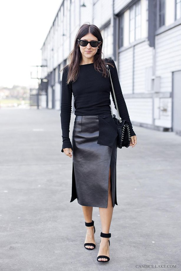 Loving this all black look shot by Candice Lake....makes me want to get a long straight leather pencil skirt.