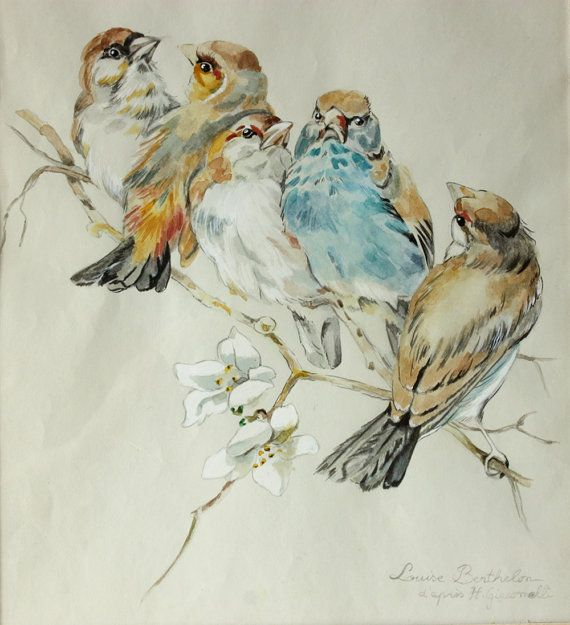 """DELICATE antique FRENCH Original watercolor BIRDS by RueDesLouves I would love to find a printable similar to this to print on a book page  DELICATE antique FRENCH Original watercolor """"BIRDS"""" Signed Louise Berthelon d' après Giacomelli"""