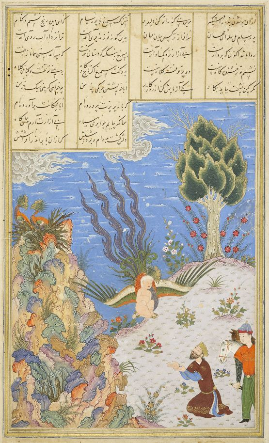 The Simorgh restores Zal to Sam Ferdowsi, Shahnameh Timurid: Herat, c.1444 Patron: Mohammad Juki b. Shah Rokh Opaque watercolour, ink and gold on paper London, Royal Asiatic Society, Persian MS 239, fol. 16v: