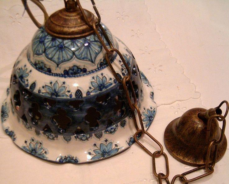 Lampadario in ceramica,foggiato al tornio,traforato e dipinto a mano, by ilciliegio, 80,00 € su misshobby.com