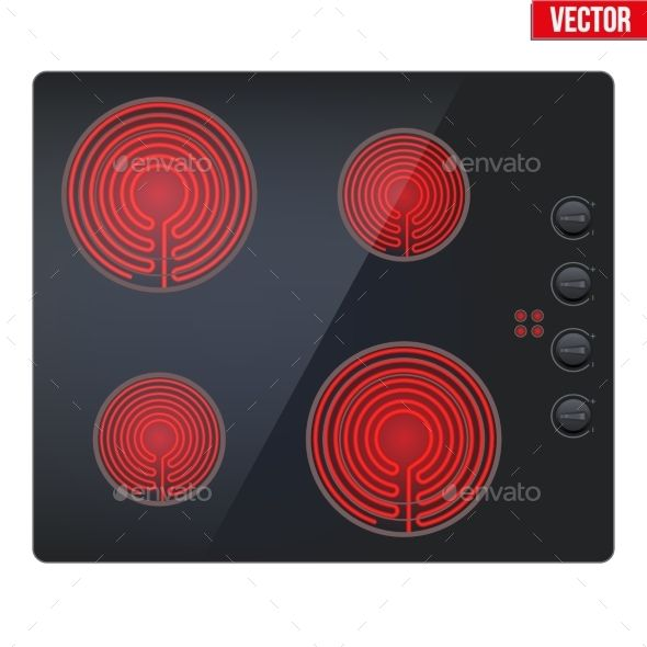 Surface of black electric hob with enabled burners. Top view of electric stove. Domestic equipment. Editable Vector illustration I