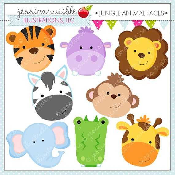 Jungle Animal Faces Cute Digital Clipart - Commercial Use OK - Jungle Animal Clipart, Jungle Animal Graphics