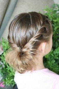 Double Twistbacks into Side Flip   Cute Hairstyles and more Hairstyles from CuteGirlsHairstyles.com
