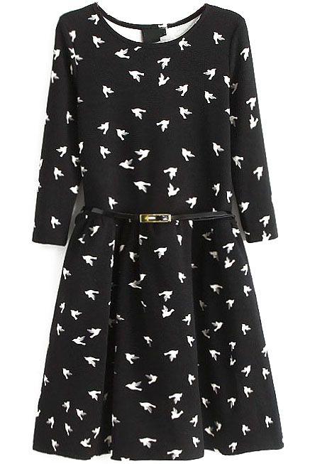 Vestido plisado aves manga larga-Negro EUR€27.35  Sería perfecto para una ocasión especial contigo, ¡me fascina!