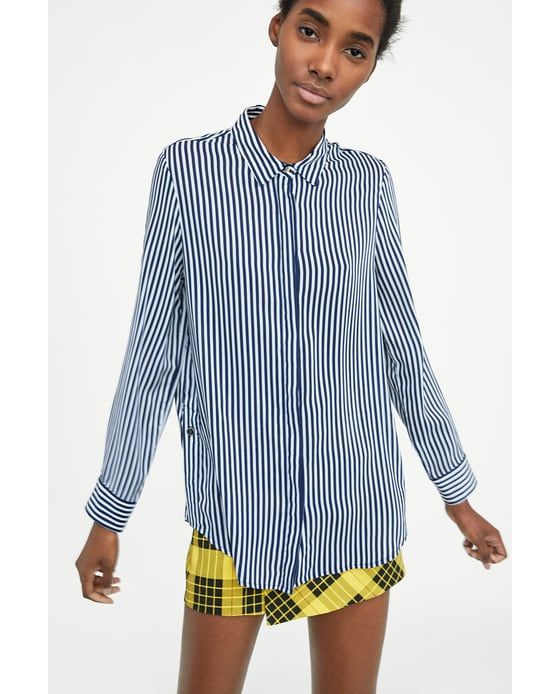 83146075b5 STRIPED SHIRT WITH SIDE BUTTON from Zara #zara #fashion #newarrivals  #trending #spring #summer #fall #stripes #shirt #buttondownshirt #loose  #comfortable ...