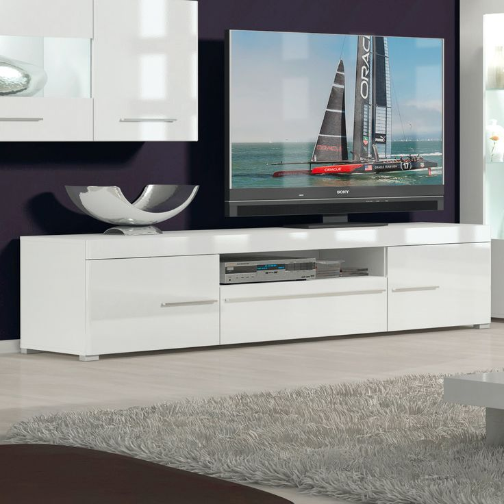 tv sideboard wei hochglanz best roller tvlowboard shine wei hochglanz mbel u wohnen online shop. Black Bedroom Furniture Sets. Home Design Ideas