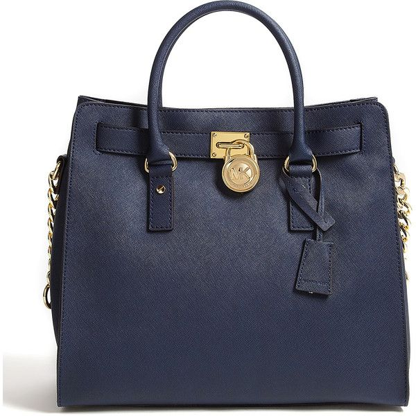 MICHAEL Michael Kors Navy Saffiano Large Hamilton North South Tote ($426) ❤ liked on Polyvore