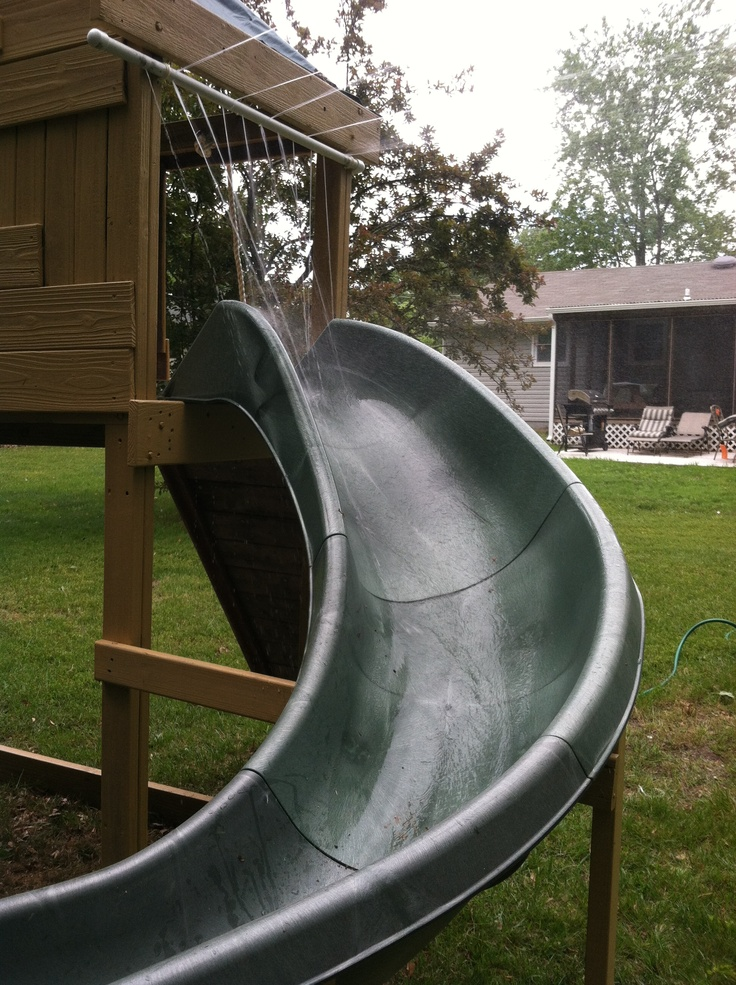 Homemade water slide just add a pool at the end of the - How to make a swimming pool slide ...