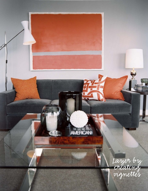 grey & orange, I love how you can add your color with big simple wall art.