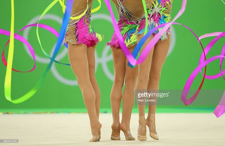 The Spain team compete in the Women's group all-around qualifying event of the Rhythmic Gymnastics at the Rio Olympic Arena during the Rio 2016 Olympic Games in Rio de Janeiro on August 20, 2016 in Rio de Janeiro, Brazil.