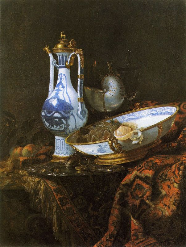 Willem Kalf - Still Life with a Chinese Porcelain Ewer, Dish and Other Objects