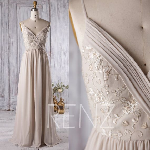 2016 Beige Bridesmaid Dress, V Neck Wedding Dress with Lace, Spaghetti Strap Evening Gown, Long Prom Dress, V Back Floor Length (L130)