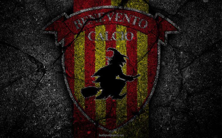 Descargar fondos de pantalla Benevento, logotipo, del arte, de la Serie a, fútbol, club de fútbol, Benevento Calcio, asfalto textura
