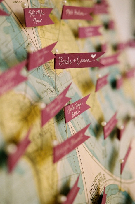 Wedding details ~ Maps ... Such a fun thing to do! Photography by jenfariello.com