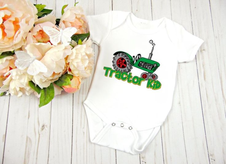 Tractor Kid, Baby Clothes, Baby One Piece, Baby BodySuit                      – Personalized Baby Clothing