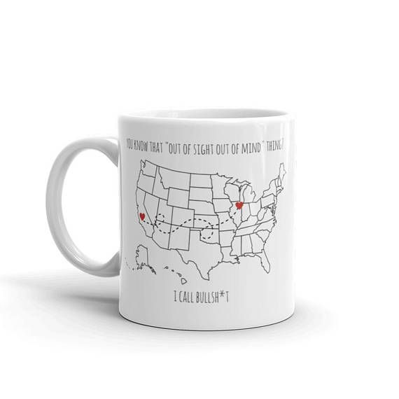 Custom State Mug. This state to state mug with hearts is perfect as a best friends mug or any other long distance relationship you have! Whether you're drinking your coffee, tea, or cocoa, this personalized mug will remind you of that someone special.  All mugs come in 11ox or 15oz size.  #coffee #mug #friends #custom