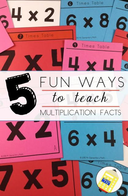 Learn 5 FUN ways to teach math facts and grab FREE multiplication games! Click here to get more details http://mrelementarymath.blogspot.com/2015/11/5-fun-ways-to-teach-multiplication-facts.html Sing multiplication songs, engage in math fact competitions, and play a variety of math games.