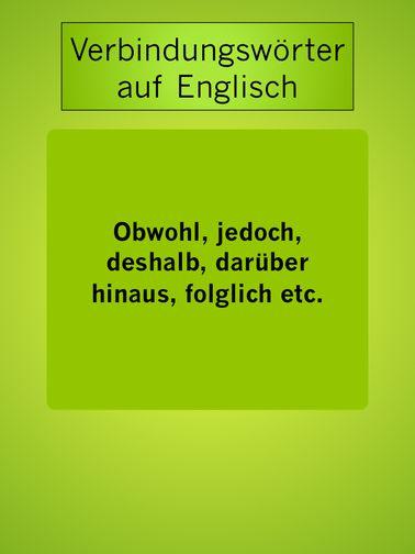 Englische Verbindungswörter: obwohl, jedoch, folglich
