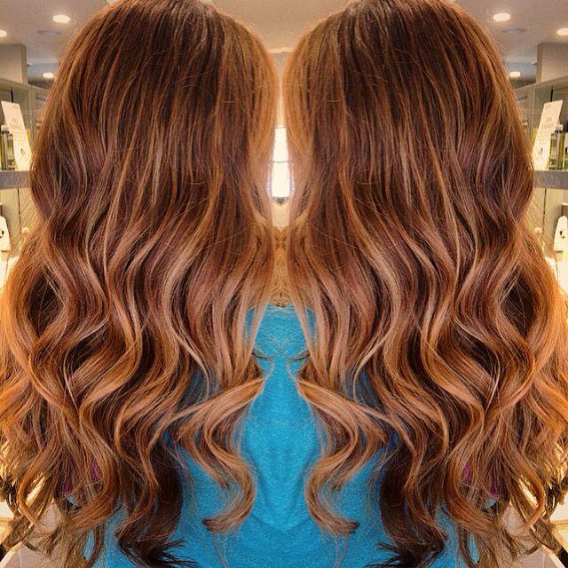 copper auburn hair with caramel balayage highlights - Auburn Hair Color With Blonde Highlights