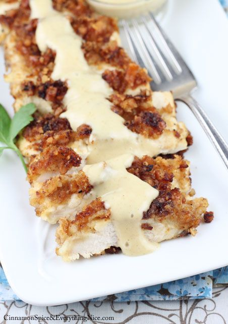 Pretzel crusted chicken breasts with a sweet and tangy honey mustard sauce.