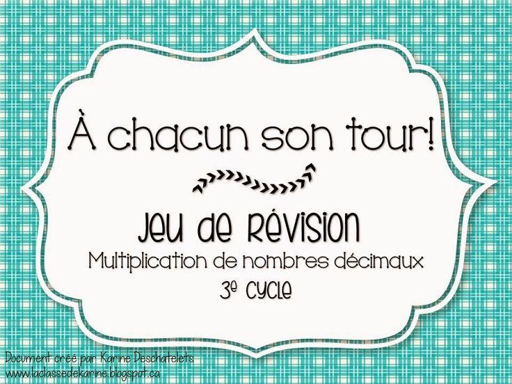 Jeu pour la révision en classe! http://laclassedekarine.blogspot.ca/