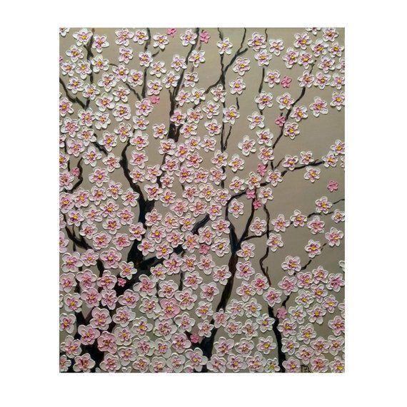 Cherry Blossom Tree Branches Original Oil Impasto Painting Etsy Tree Painting Cherry Blossom Tree Blossom Trees