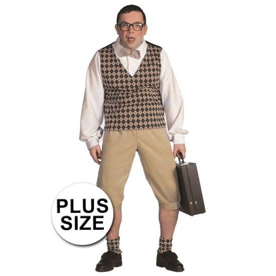 Plus size nerd verkleedkleding heren  Grote maten nerd kostuum heren bestaande uit een lichtbruine kniebroek met een top. De top bestaat uit een bruin/zwart geruite V-Hals spencer met een witte blouse eronder en een lichtbruine vlinderstrik.  EUR 63.95  Meer informatie