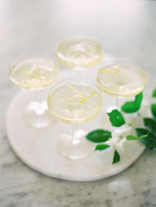 honeysuckle champagne cocktail, signature cocktail