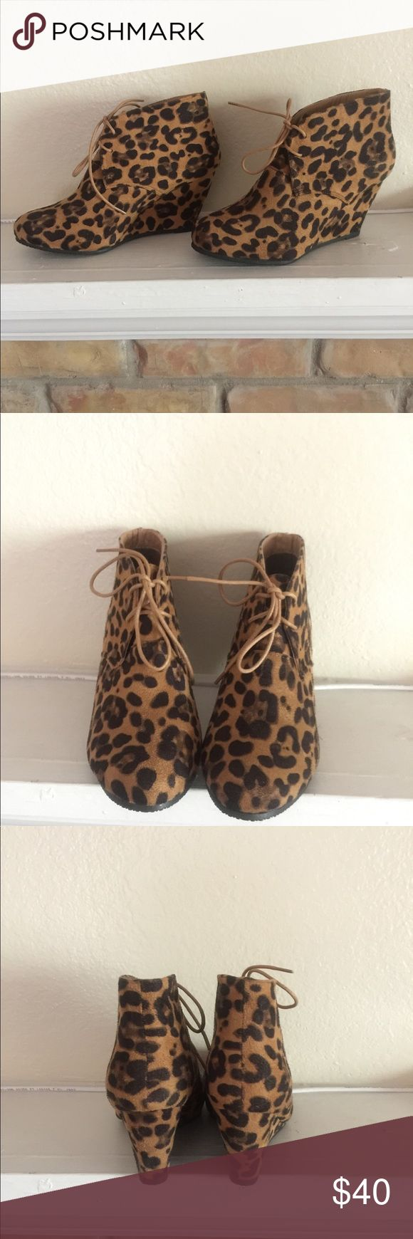Leopard Wedge booties Beautiful suede leopard wedges. Size 8. Never worn. True to size. Great for the fall paired with a sweater tunic and tights.💕💕 Shoes Lace Up Boots