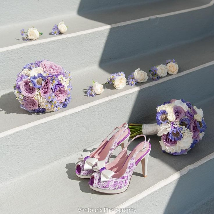Lovely colour palette perfectly matched to bride's custom made shoes!