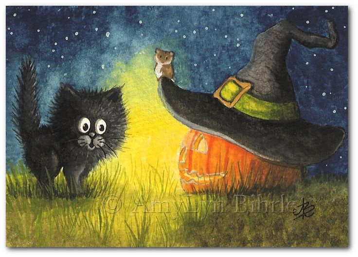 Black Cat Halloween Jack o Lantern Art Print or by AmyLynBihrle