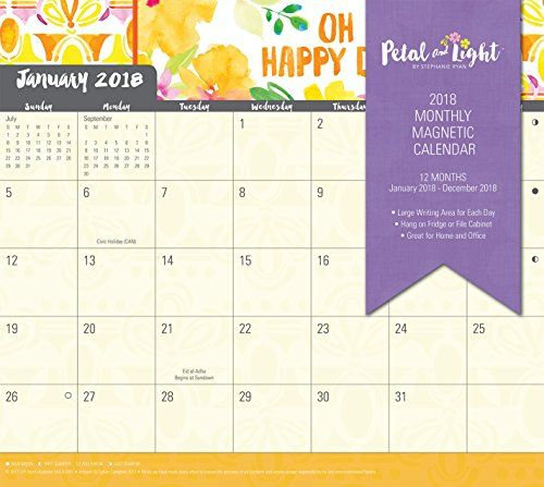 Discounted Summit 2018 Petal & Light Monthly Magnetic Calendar (90538)