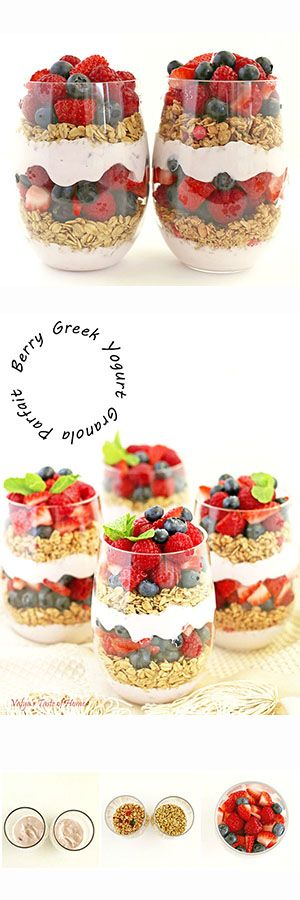 Layers of Greek yogurt, granola and lots of berries… Who can resist such a healthy and satisfying breakfast or anytime of the day snack? #healthygranolasnack #berryparfait #breakfast