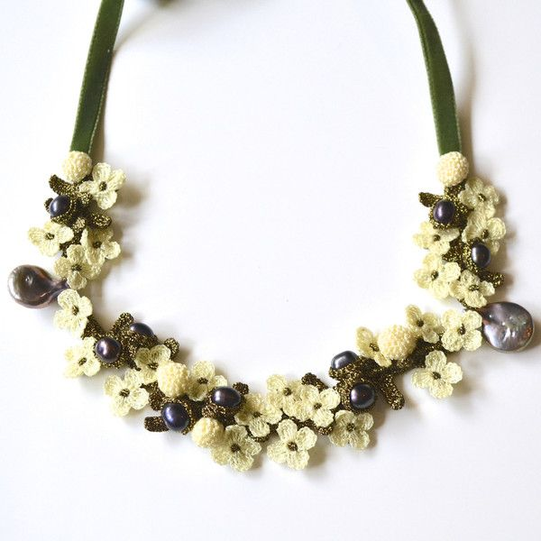 JJ Caprices - Exquisite Hand Crocheted Flower and Pearl Necklace - Ivory