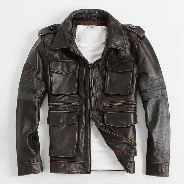 Mens First Layer Cowhide Genuine M65 #Leather Jackets