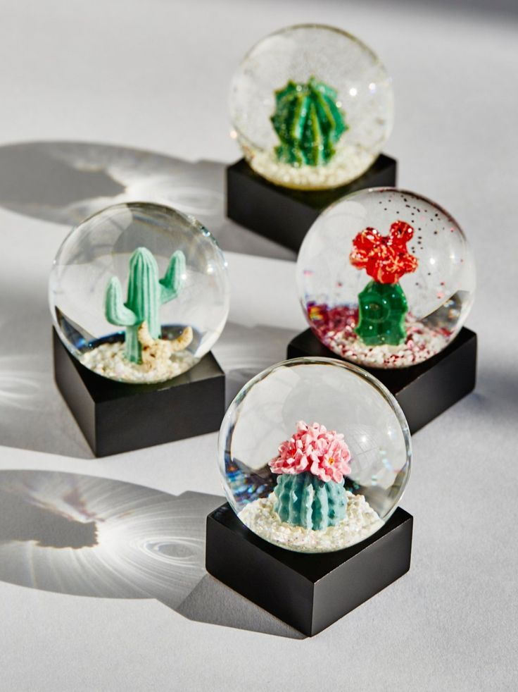 Mini Cacti Snow Globe (Set of 4) | Channel desert vibes throughout the holiday season with this set of four mini glass snowglobes, perfect for decorating any space. Each one features an ultra cute cactus. Shake them to watch shimmering glitter fall like snow.