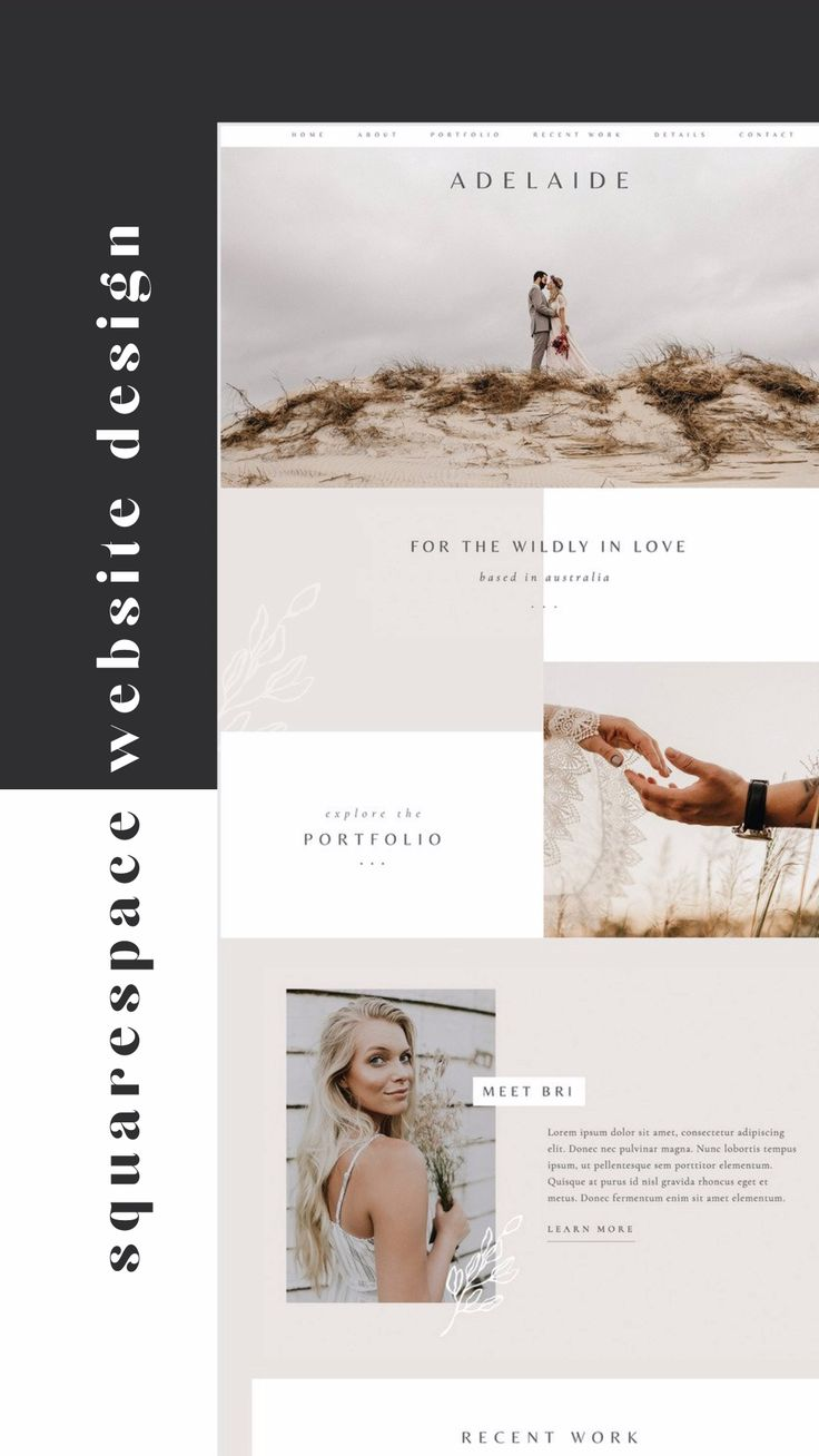 Squarespace Website Design Template Kit for Wedding Photographer