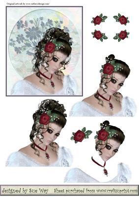 Bride Decoupage Topper~Pretty Brunette