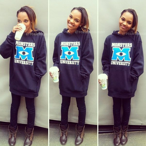 "China Anne McClain Totally Rockin' A ""Monsters University"" Sweatshirt"