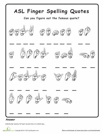 Worksheets: American Sign Language Practice