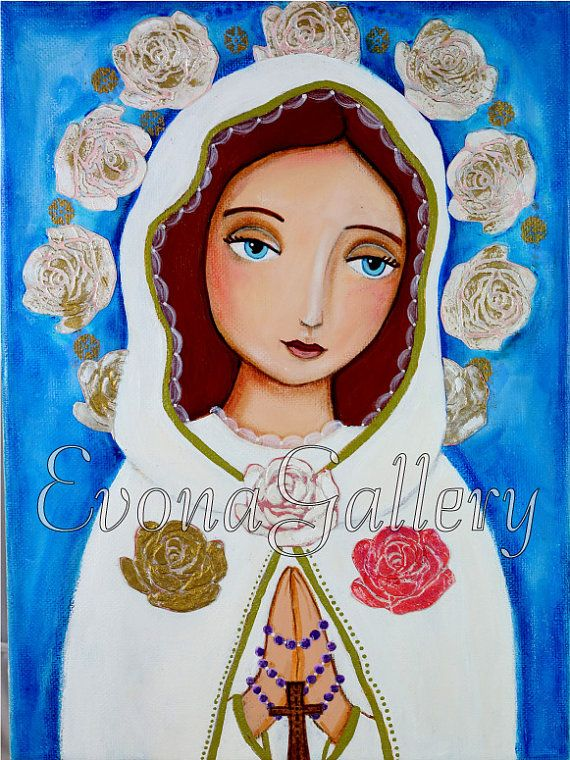 Print, Folk Art Painting, Vergine Immacolata, Madre di Grazia, Rosa Mistica , Print on Wood, Print 8x 10in, Mixed Media, Wall Decor by Evona