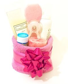 towel gift basket filled