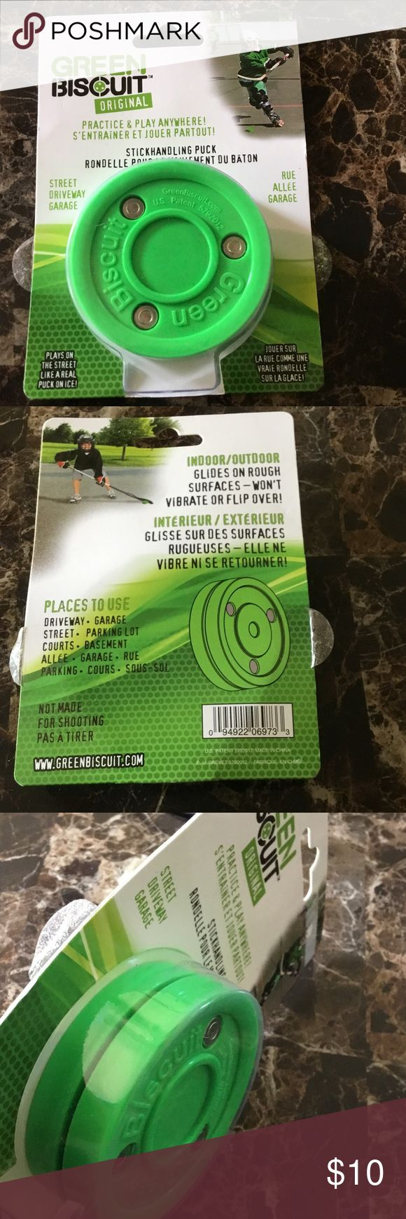The Green Biscuit Sniper Hockey Puck New The Green Biscuit Sniper puck is an off-ice training hockey puck that will help you and your team develop passing, stickhandling, and shooting skills.. puck weighs about about 5oz... New in sealed package. green biscuit Accessories