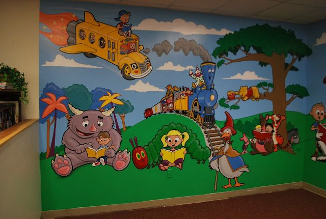 19 best images about library painting on pinterest good for Elementary school mural ideas